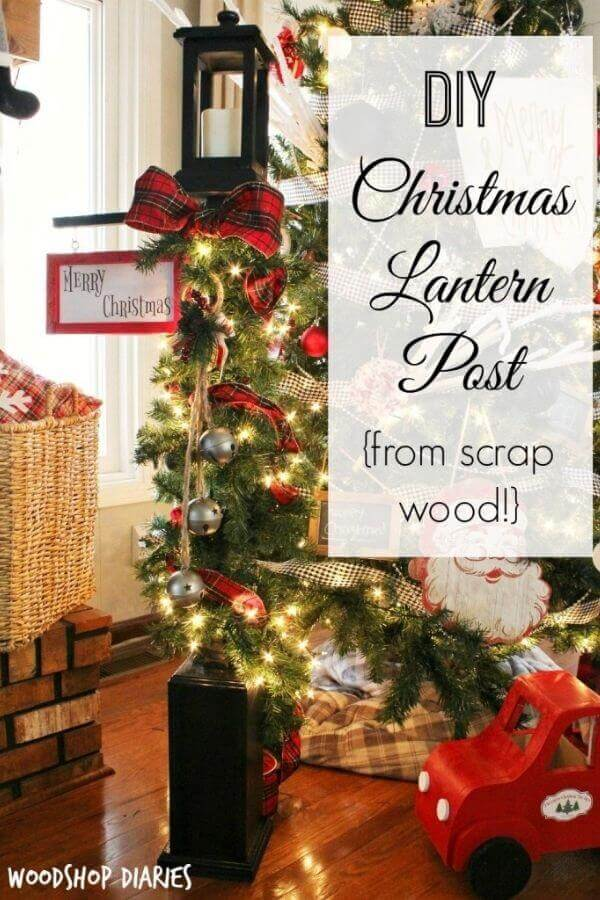 DIY Christmas Lantern Post