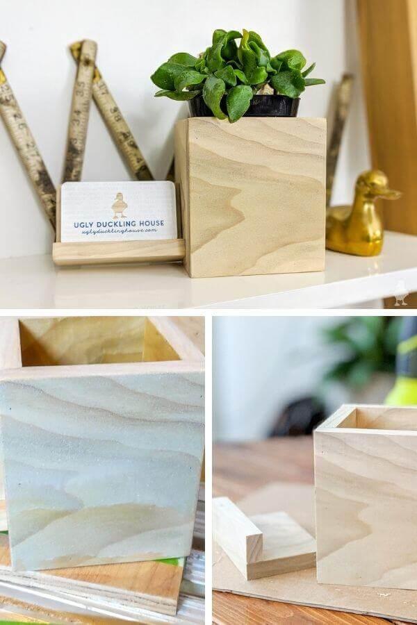 DIY Desk Planter and Card Holder