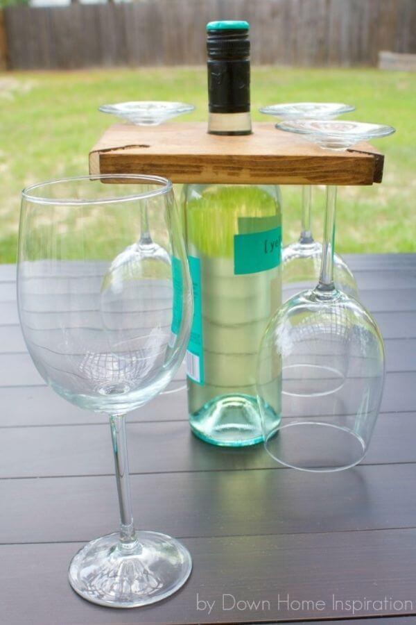 DIY Holder For Wine Bottle And Glasses