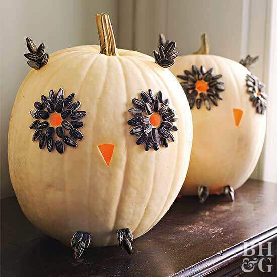 Easy Carved Owl Pumpkins