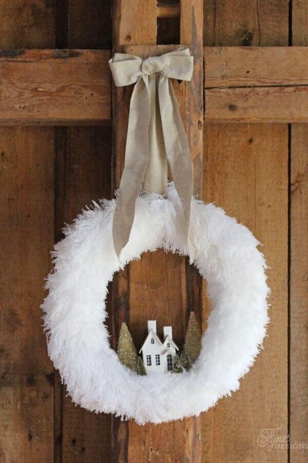 Fluffy Village Christmas Wreath