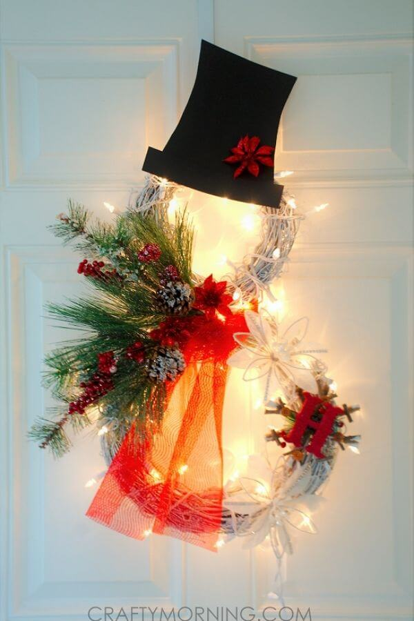 Lighted Grapevine Snowman Wreath