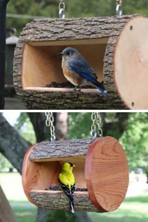 Log Bird Feeder