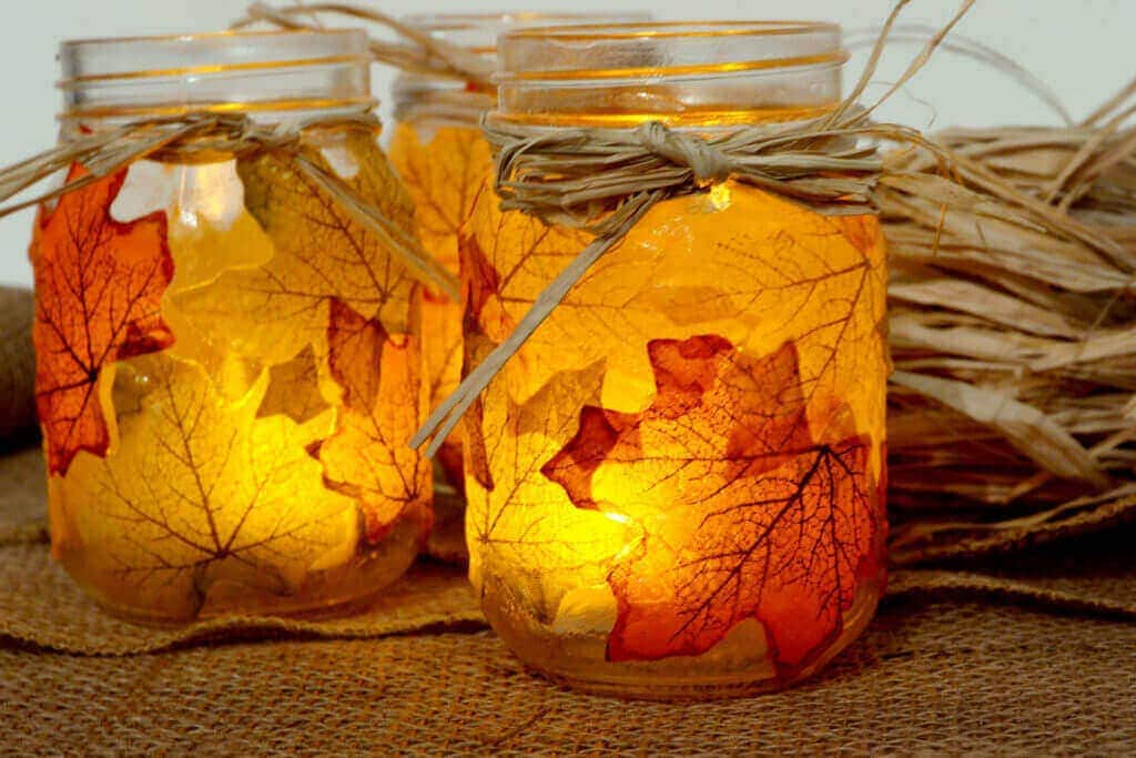 Mason Jars And Leaves
