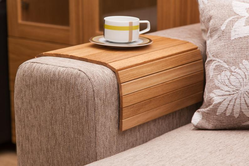 Natural Oak Sofa Side Tray Table
