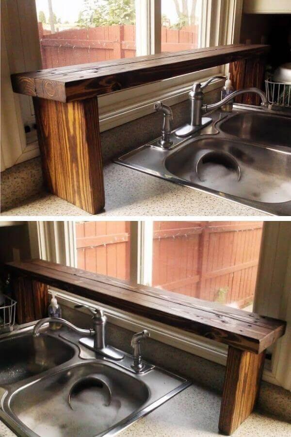 Pallet Wood Over-The-Sink Window Shelf