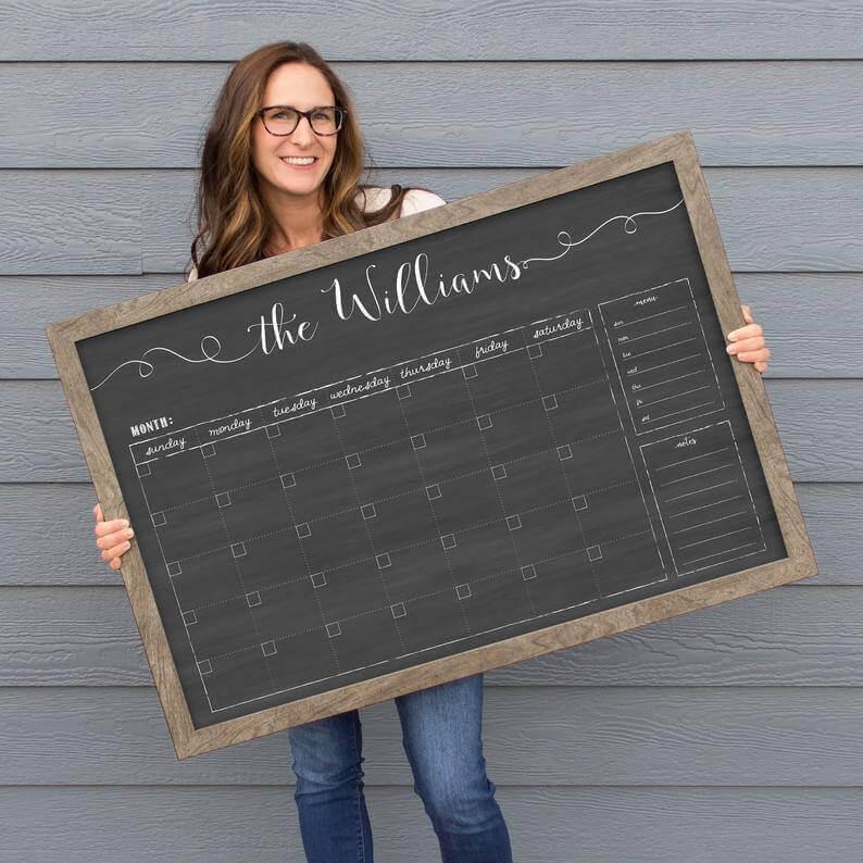 Personalized Dry Erase Chalkboard Calendar