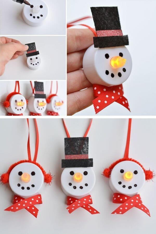 Tea Light Snowman Ornaments