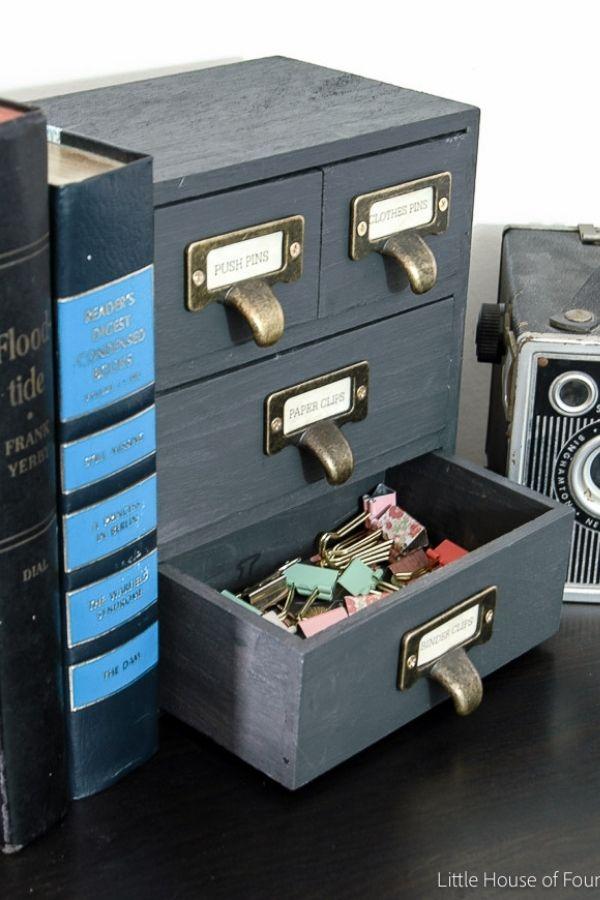 Wooden 4 Drawer Storage Box