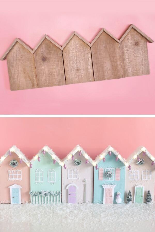 Wooden Christmas Row Houses